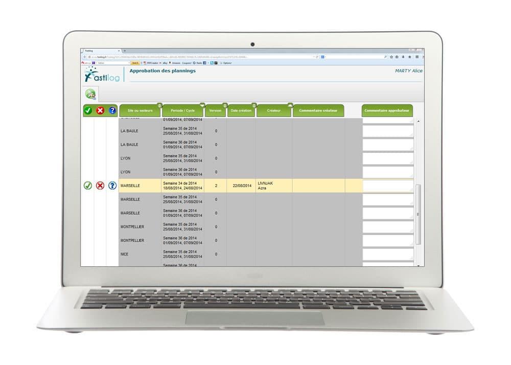Approbation des plannings avec le module de gestion du logiciel RH Fastilog