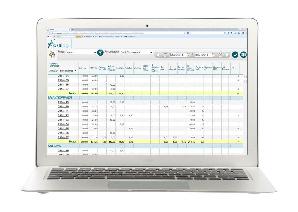 Compteurs d'heures - Module de gestion des temps de présence et pointage de Fastilog, logiciel RH de gestion des temps et des activités
