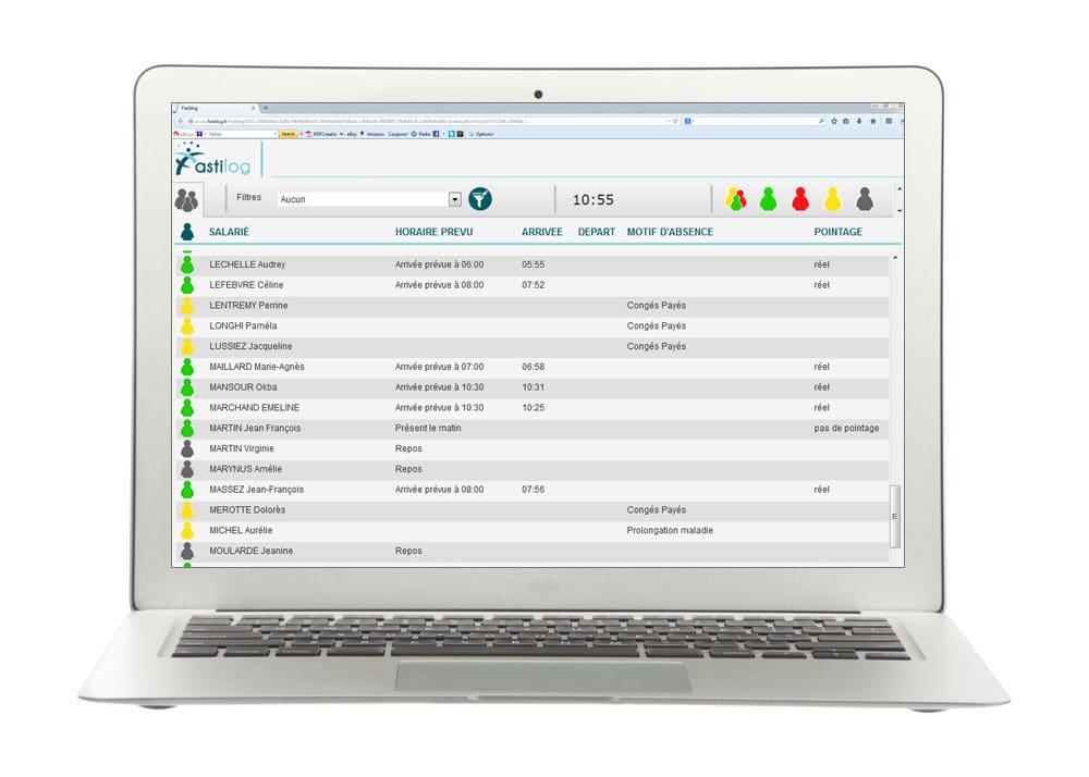 Etat de présence instantané - Module de gestion des plannings de Fastilog, logiciel RH de gestion des temps et des activités