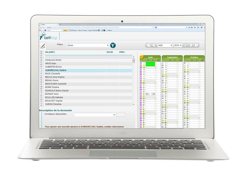 Gestion des absences - Module de gestion des congés et absences de Fastilog, logiciel RH gestion des temps