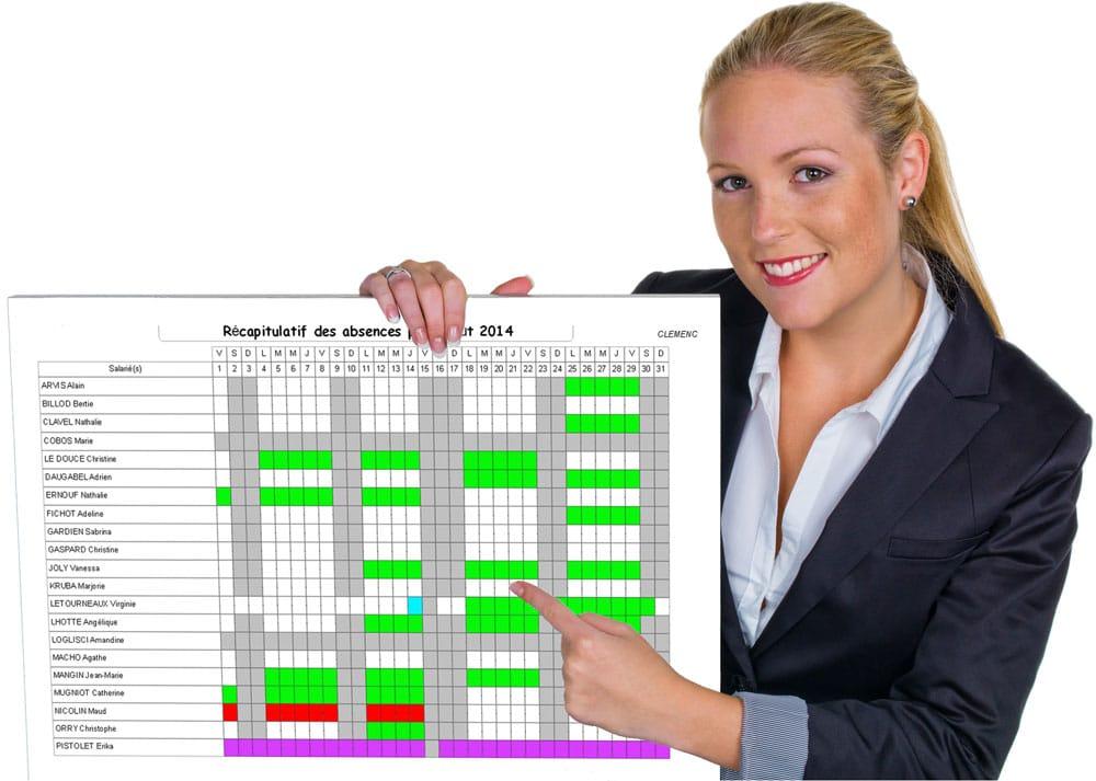 Planning récapitulatif des absences du module de gestion des congés de Fastilog logiciel RH