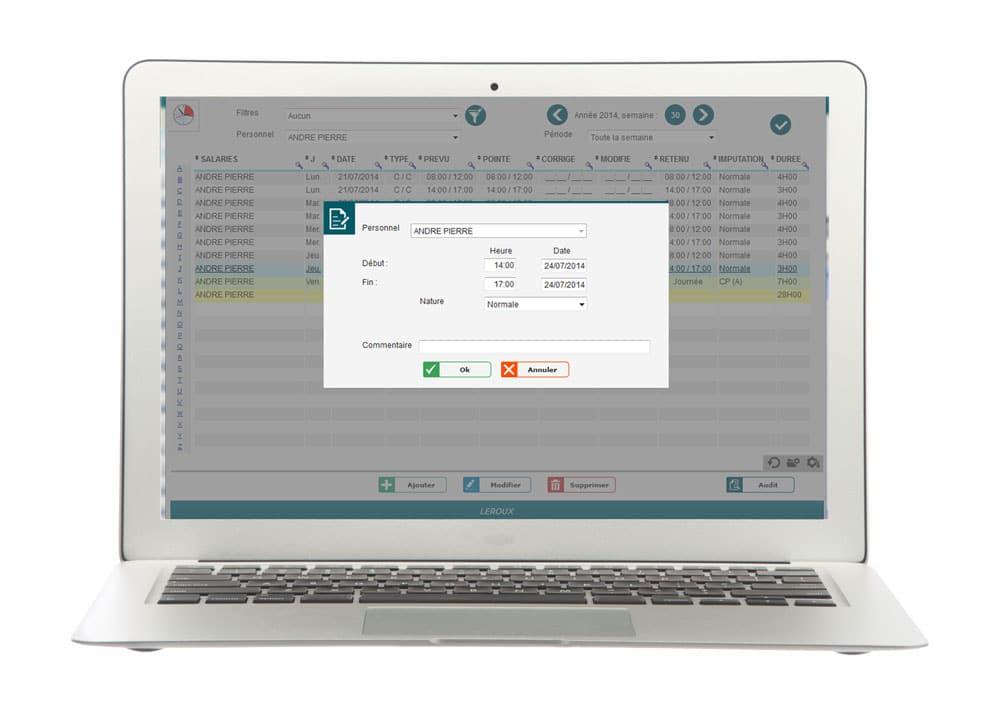 Module de gestion des temps de présence et pointage de Fastilog, logiciel RH gestion des temps