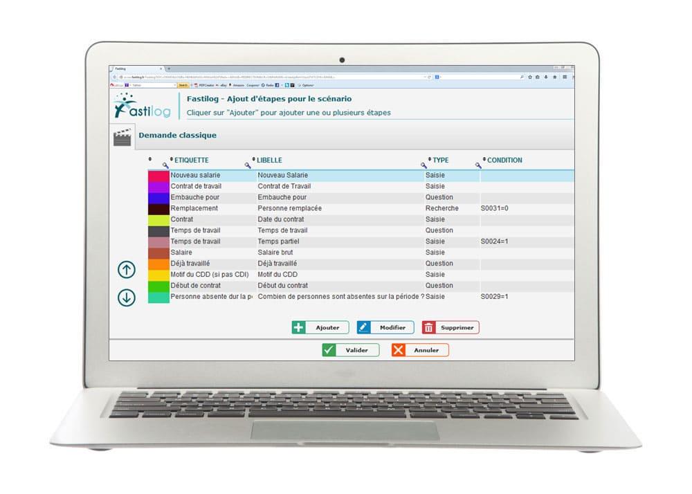 Ajout de scénarios - Module de gestion des contrats de travail de Fastilog, logiciel RH de gestion des temps et des activités