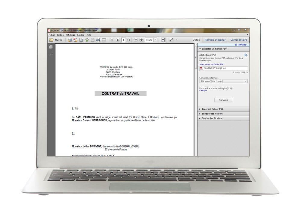 Edition du contrat de travail PDF en toute simplicité avec Fastilog, logiciel RH de gestion des temps et des activités du personnel