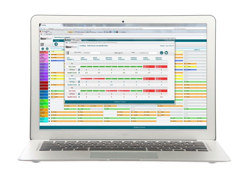 Gestion des indicateurs du module de gestion des plannings de Fastilog logiciel RH de gestion des temps et des activités