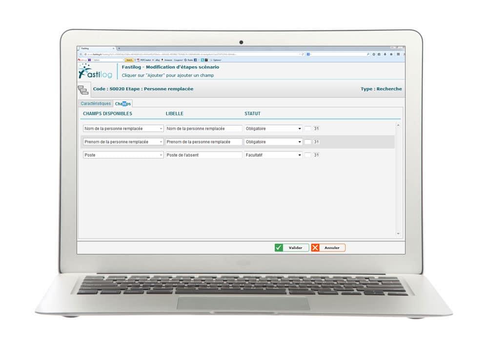 Modifications de scénarios - Module de gestion des contrats de travail de Fastilog, logiciel RH de gestion des temps et des activités