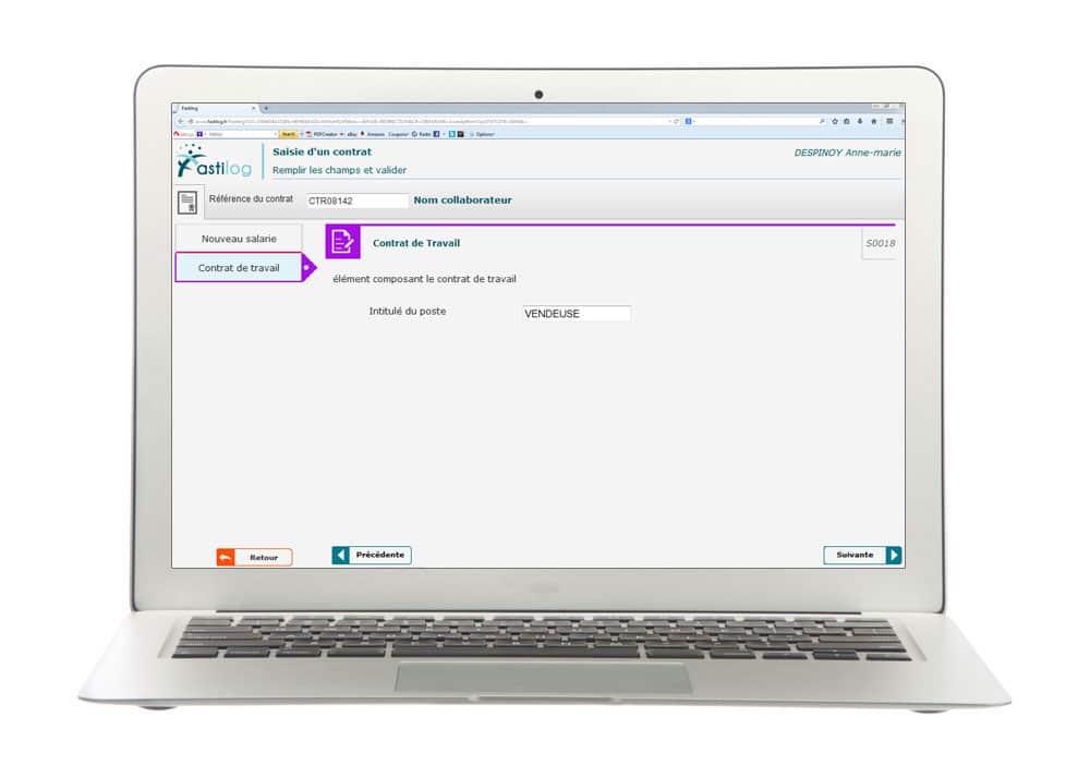 Saisie de contrat - Module de gestion des contrats de travail de Fastilog, logiciel RH de gestion des temps et des activités