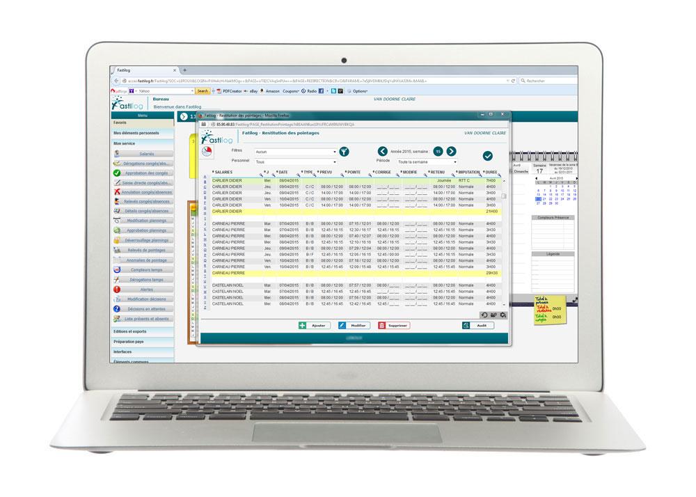Traçabilité des pointages - Fastilog logiciel RH de gestion des temps et des activités