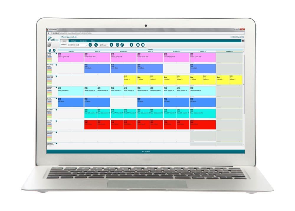 Planning hebdomadaire des salariés - module de gestion des plannings de Fastilog logiciel RH de gestion des temps et des activités