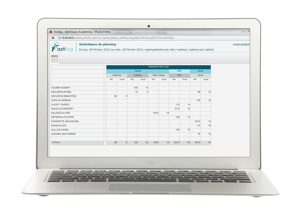 Vision statistique - module de gestion des plannings de Fastilog logiciel RH de gestion des temps et des activités